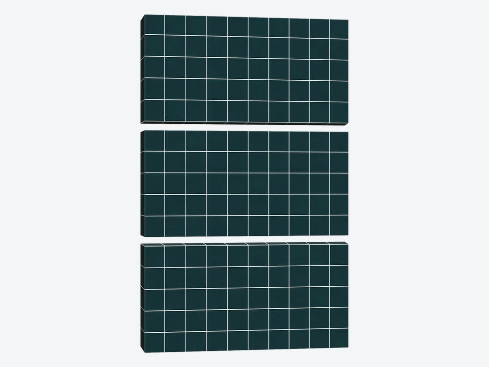 Small Grid Pattern - Green Tinted Navy Blue by Zoltan Ratko 3-piece Canvas Art