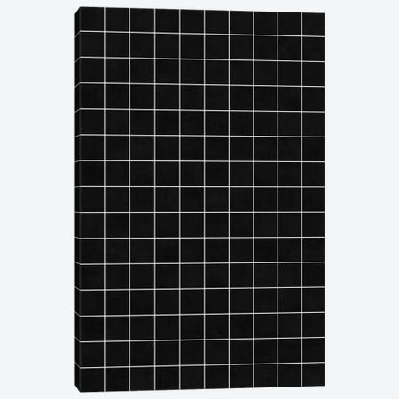 Small Grid Pattern - Black Canvas Print #ZRA123} by Zoltan Ratko Canvas Art