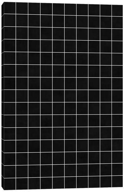 Small Grid Pattern - Black Canvas Art Print
