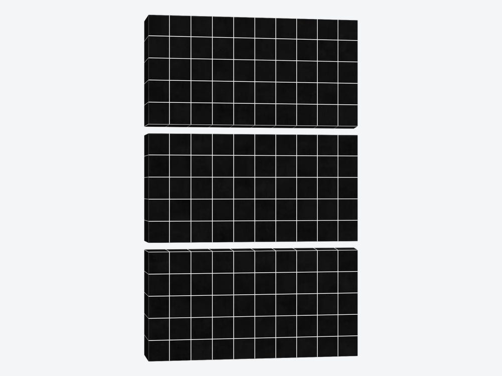 Small Grid Pattern - Black 3-piece Canvas Art Print