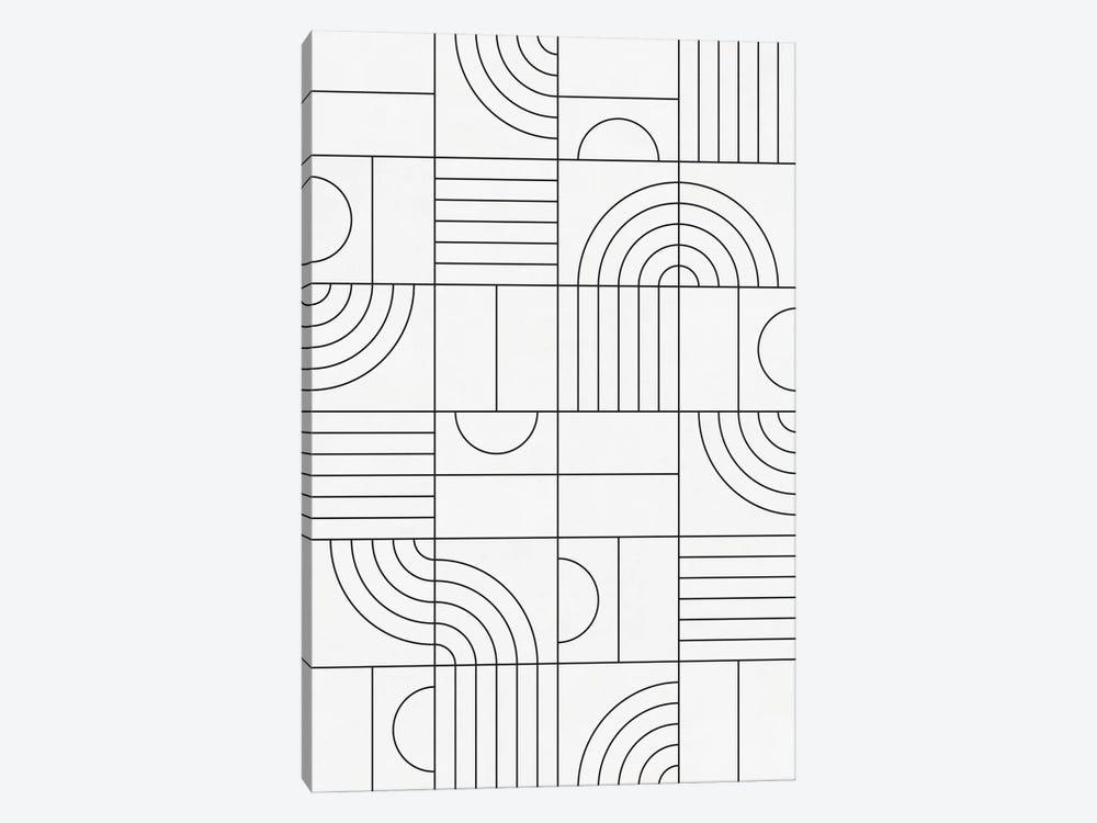 My Favorite Geometric Patterns No.19 - White by Zoltan Ratko 1-piece Canvas Wall Art