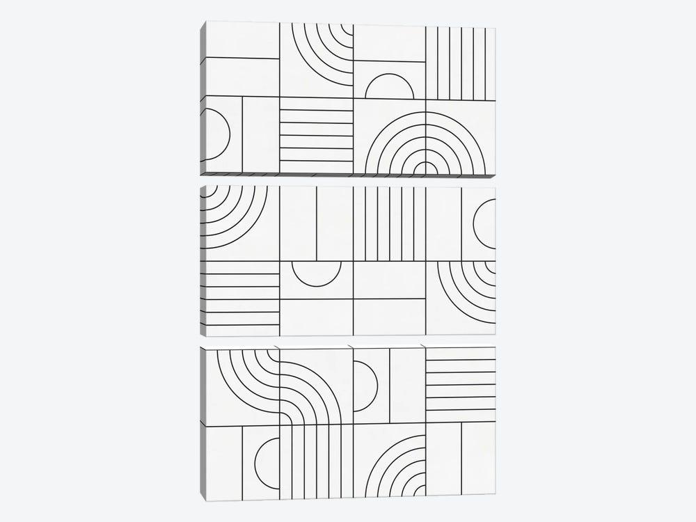 My Favorite Geometric Patterns No.19 - White by Zoltan Ratko 3-piece Canvas Art