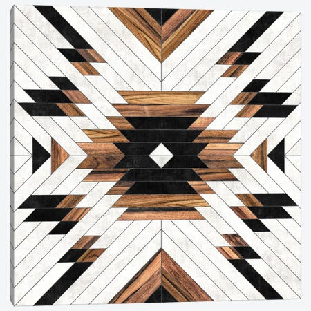 Urban Tribal Pattern No.5 - Aztec - Concrete And Wood Canvas Print #ZRA129} by Zoltan Ratko Canvas Artwork