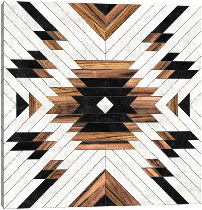 Urban Tribal Pattern No.5 - Aztec - Concrete And Wood Canvas Art Print