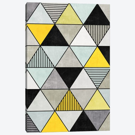 Colorful Concrete Triangles 2 - Yellow, Blue, Grey Canvas Print #ZRA12} by Zoltan Ratko Canvas Wall Art