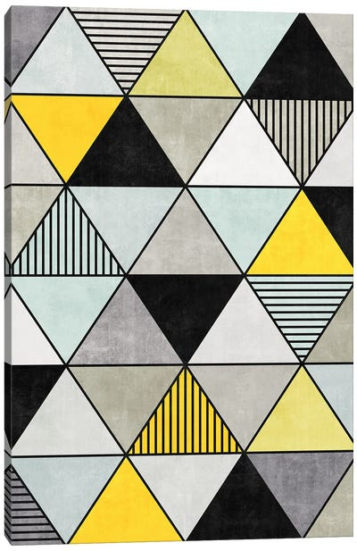 Colorful Concrete Triangles 2 - Yellow, Blue, Grey Canvas Art Print