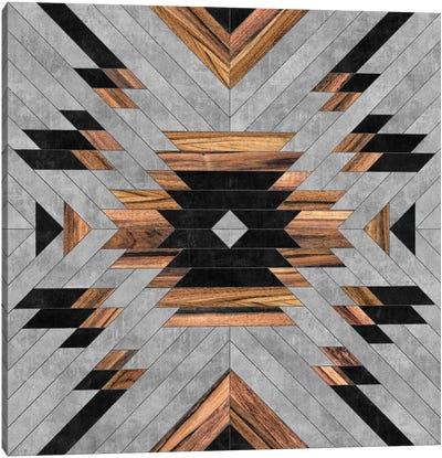 Urban Tribal Pattern No.6 - Aztec - Concrete And Wood Canvas Art Print