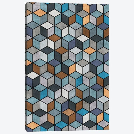 Colorful Concrete Cubes - Blue, Grey, Brown Canvas Print #ZRA14} by Zoltan Ratko Canvas Art Print