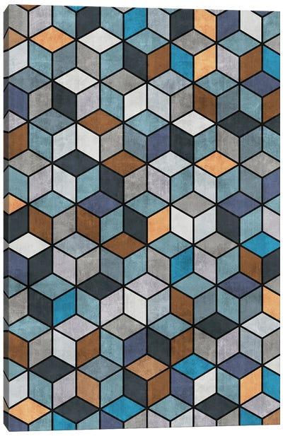 Colorful Concrete Cubes - Blue, Grey, Brown Canvas Art Print