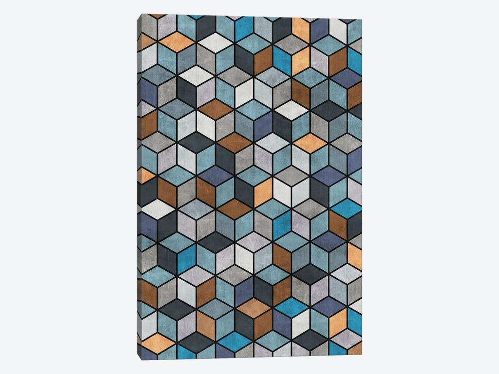 Colorful Concrete Cubes - Blue, Grey, Brown by Zoltan Ratko 1-piece Canvas Wall Art