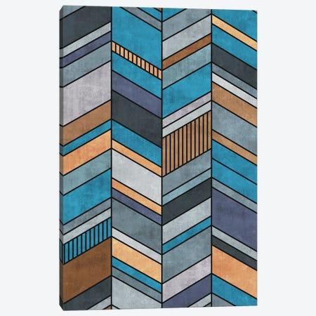 Colorful Concrete Chevron Pattern - Blue, Grey, Brown Canvas Print #ZRA15} by Zoltan Ratko Canvas Print