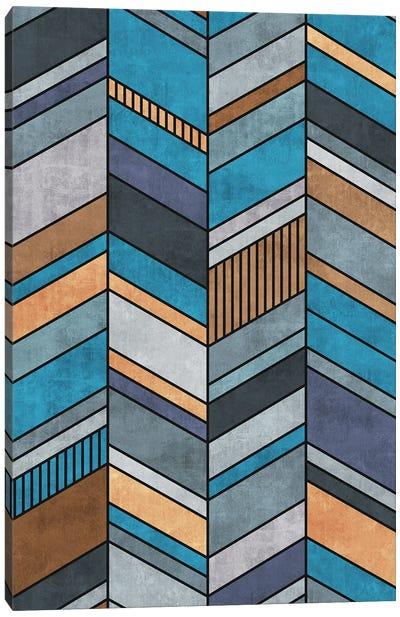 Colorful Concrete Chevron Pattern - Blue, Grey, Brown Canvas Art Print