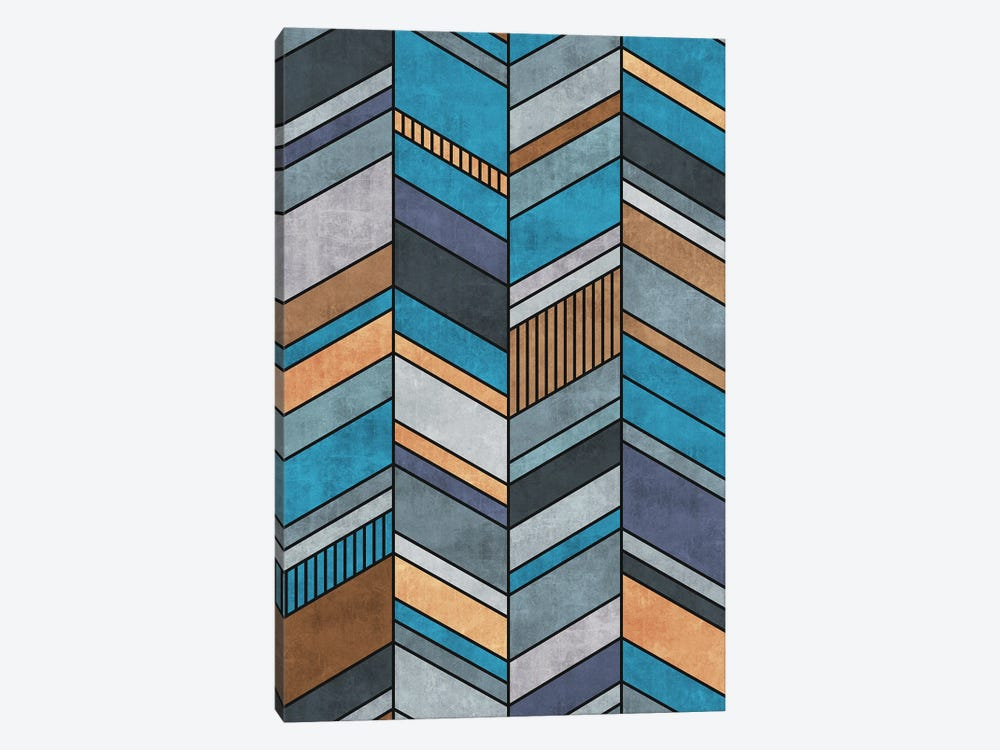Colorful Concrete Chevron Pattern - Blue, Grey, Brown by Zoltan Ratko 1-piece Art Print