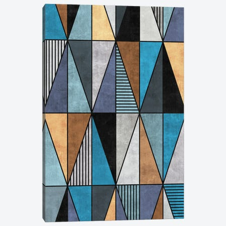 Colorful Concrete Triangles - Blue, Grey, Brown Canvas Print #ZRA16} by Zoltan Ratko Canvas Print