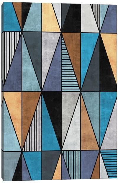 Colorful Concrete Triangles - Blue, Grey, Brown Canvas Art Print