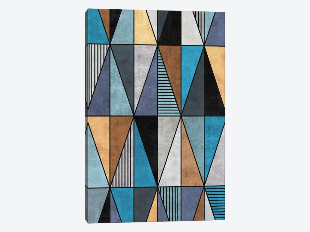 Colorful Concrete Triangles - Blue, Grey, Brown by Zoltan Ratko 1-piece Canvas Wall Art