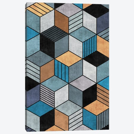 Colorful Concrete Cubes 2 - Blue, Grey, Brown Canvas Print #ZRA17} by Zoltan Ratko Canvas Art Print