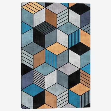 Colorful Concrete Cubes 2 - Blue, Grey, Brown Canvas Print #ZRA17} by Zoltan Ratko Canvas Art Print
