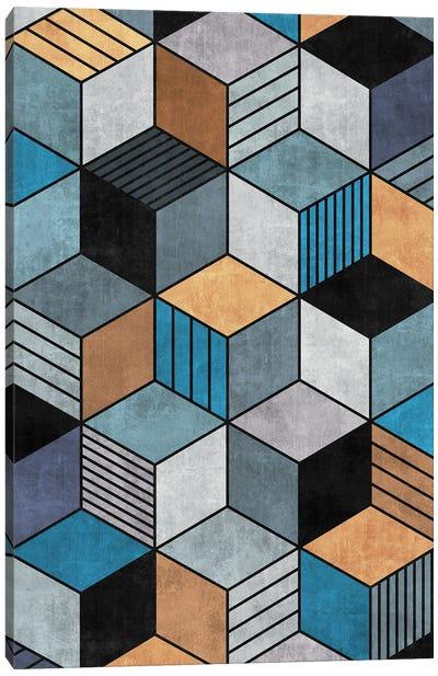 Colorful Concrete Cubes 2 - Blue, Grey, Brown Canvas Art Print