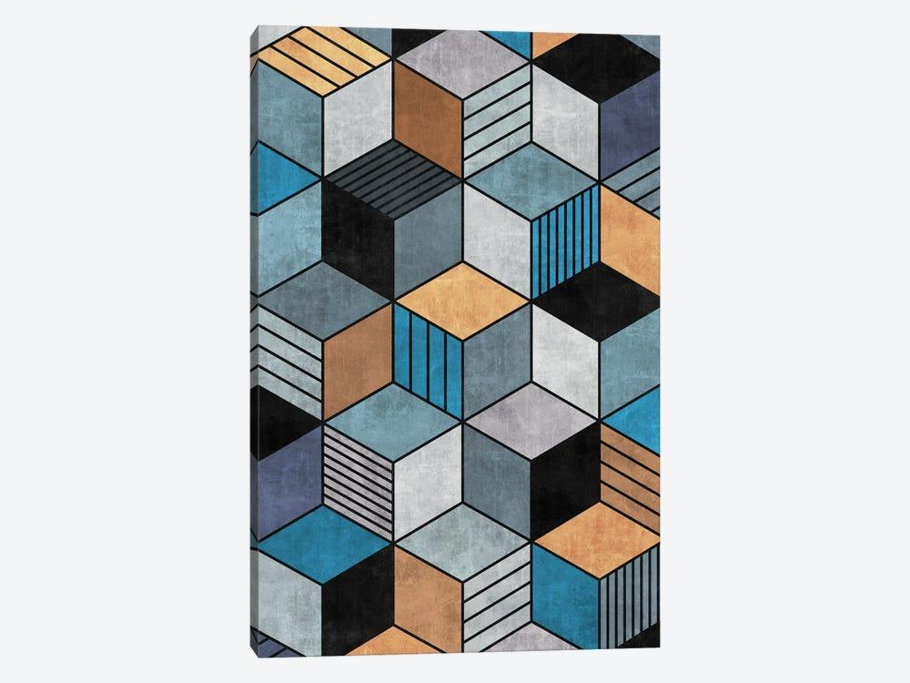 Colorful Concrete Cubes 2 - Blue, Grey, Brown by Zoltan Ratko 1-piece Canvas Print