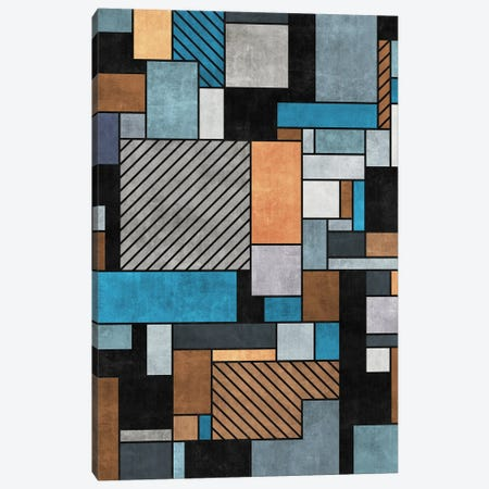 Random Concrete Pattern - Blue, Grey, Brown Canvas Print #ZRA18} by Zoltan Ratko Canvas Wall Art