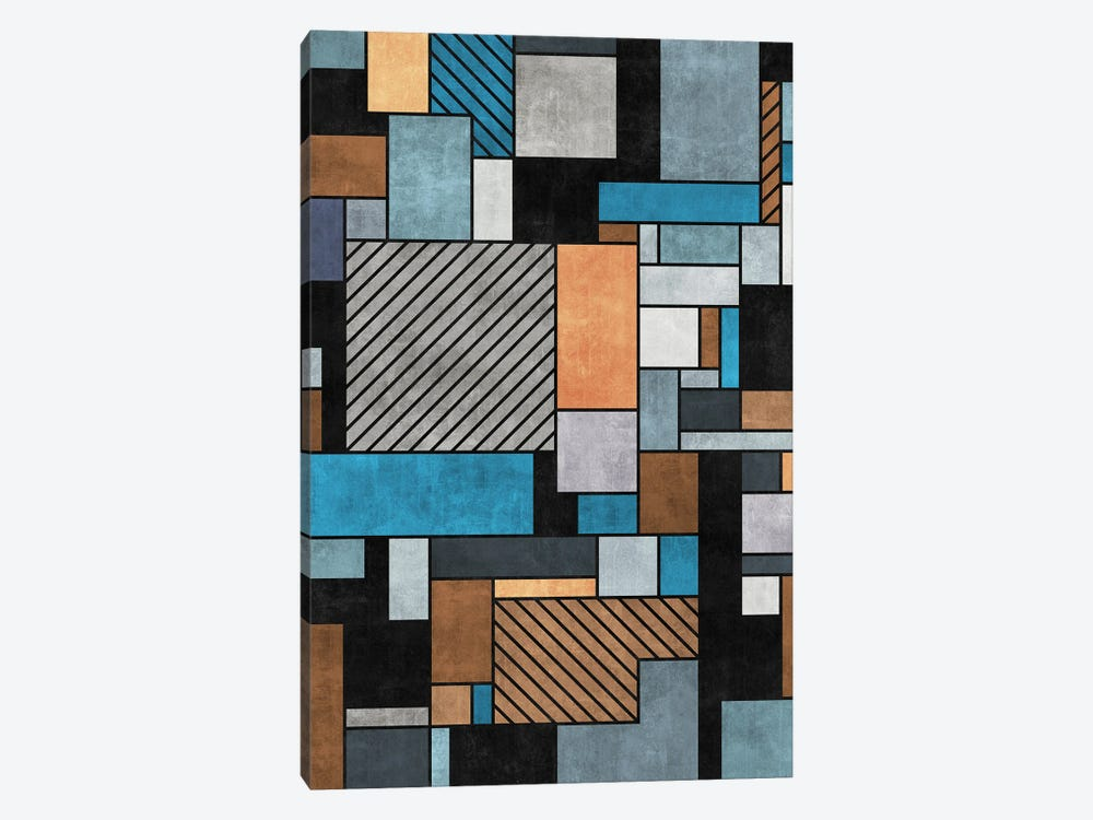 Random Concrete Pattern - Blue, Grey, Brown by Zoltan Ratko 1-piece Canvas Wall Art