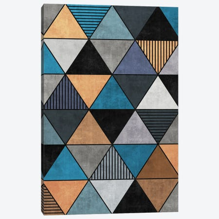 Colorful Concrete Triangles 2 - Blue, Grey, Brown Canvas Print #ZRA19} by Zoltan Ratko Canvas Art