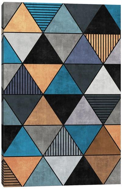 Colorful Concrete Triangles 2 - Blue, Grey, Brown Canvas Art Print