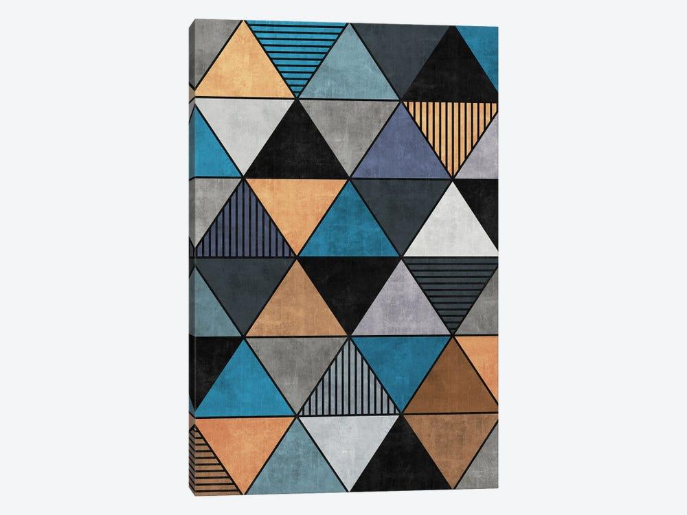 Colorful Concrete Triangles 2 - Blue, Grey, Brown by Zoltan Ratko 1-piece Canvas Print