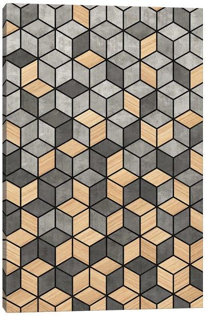 Concrete and Wood Cubes Canvas Art Print