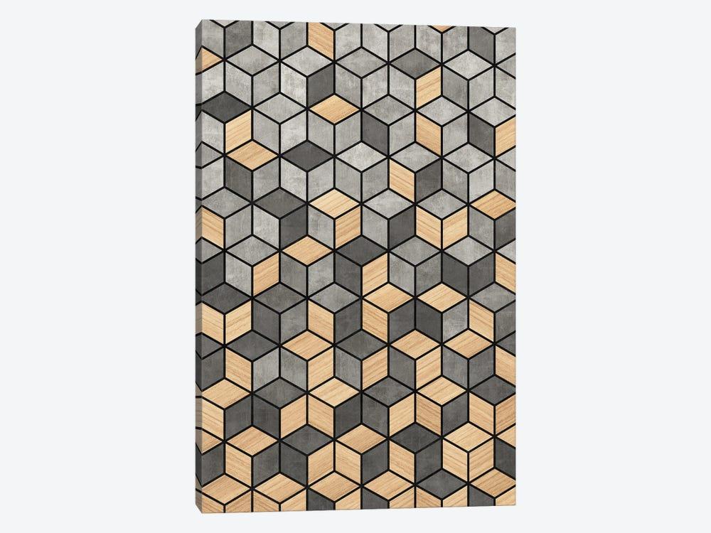 Concrete and Wood Cubes by Zoltan Ratko 1-piece Canvas Print