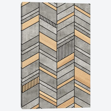 Abstract Chevron Pattern - Concrete and Wood Canvas Print #ZRA21} by Zoltan Ratko Canvas Art Print