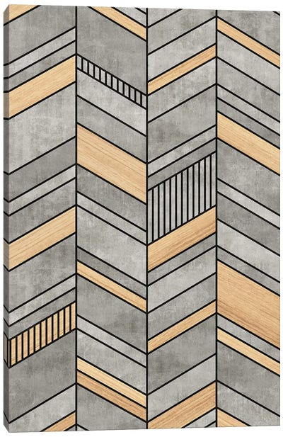 Abstract Chevron Pattern - Concrete and Wood Canvas Art Print