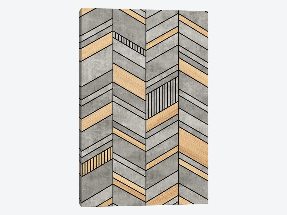 Abstract Chevron Pattern - Concrete and Wood by Zoltan Ratko 1-piece Canvas Art