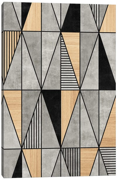 Concrete and Wood Triangles Canvas Art Print
