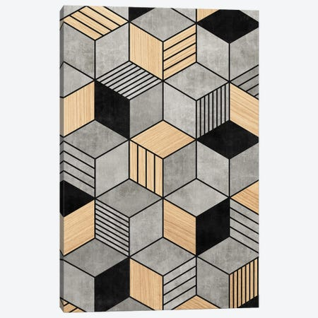 Concrete and Wood Cubes 2 Canvas Print #ZRA23} by Zoltan Ratko Canvas Print