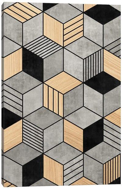 Concrete and Wood Cubes 2 Canvas Art Print