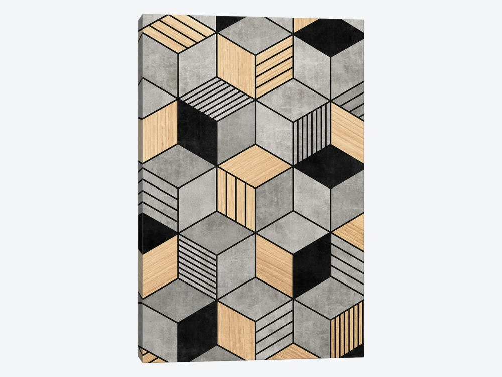 Concrete and Wood Cubes 2 by Zoltan Ratko 1-piece Canvas Artwork