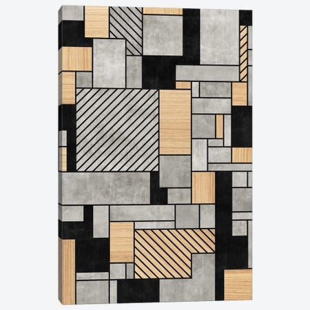 Random Pattern - Concrete and Wood Canvas Print #ZRA24} by Zoltan Ratko Canvas Art
