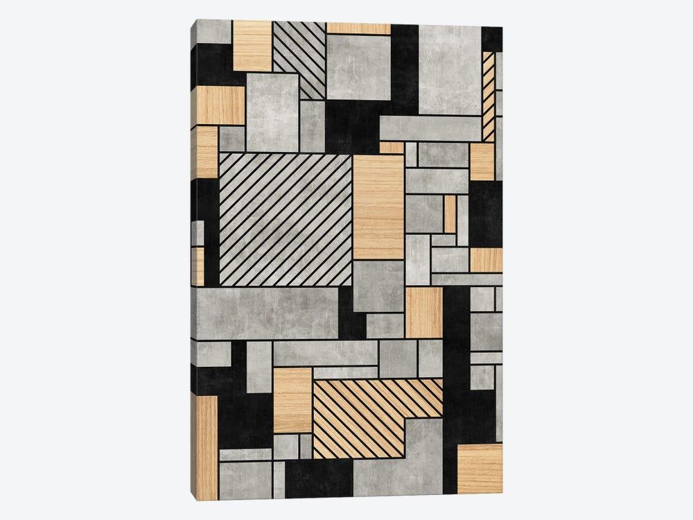 Random Pattern - Concrete and Wood by Zoltan Ratko 1-piece Canvas Art Print