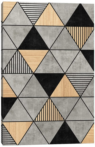 Concrete and Wood Triangles 2 Canvas Art Print
