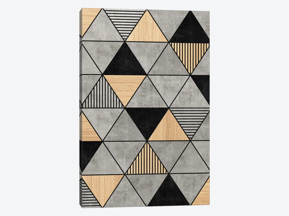 Concrete and Wood Triangles 2 by Zoltan Ratko 1-piece Canvas Wall Art
