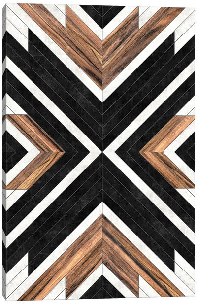 Urban Tribal Pattern No.1 - Concrete and Wood Canvas Art Print