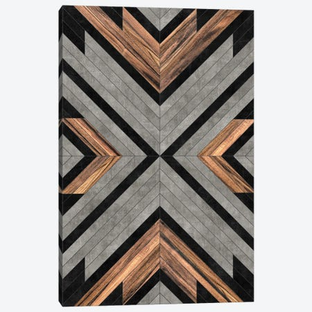 Urban Tribal Pattern No.2 - Concrete and Wood Canvas Print #ZRA27} by Zoltan Ratko Canvas Art