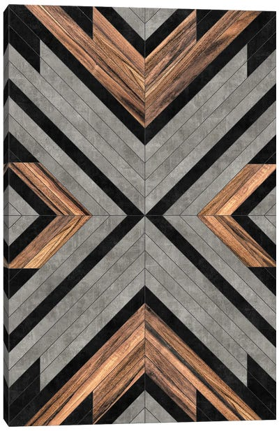 Urban Tribal Pattern No.2 - Concrete and Wood Canvas Art Print