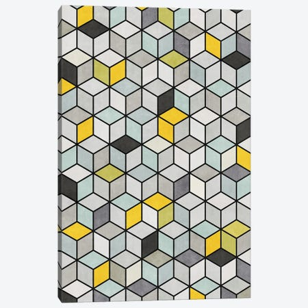Colorful Concrete Cubes - Yellow, Blue, Grey Canvas Print #ZRA2} by Zoltan Ratko Art Print