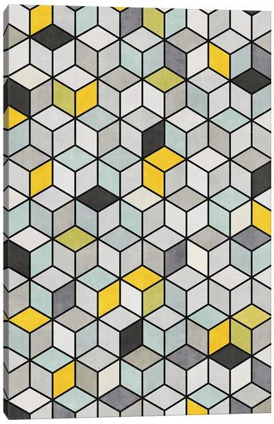 Colorful Concrete Cubes - Yellow, Blue, Grey Canvas Art Print