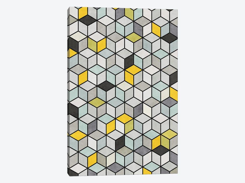 Colorful Concrete Cubes - Yellow, Blue, Grey by Zoltan Ratko 1-piece Canvas Art Print