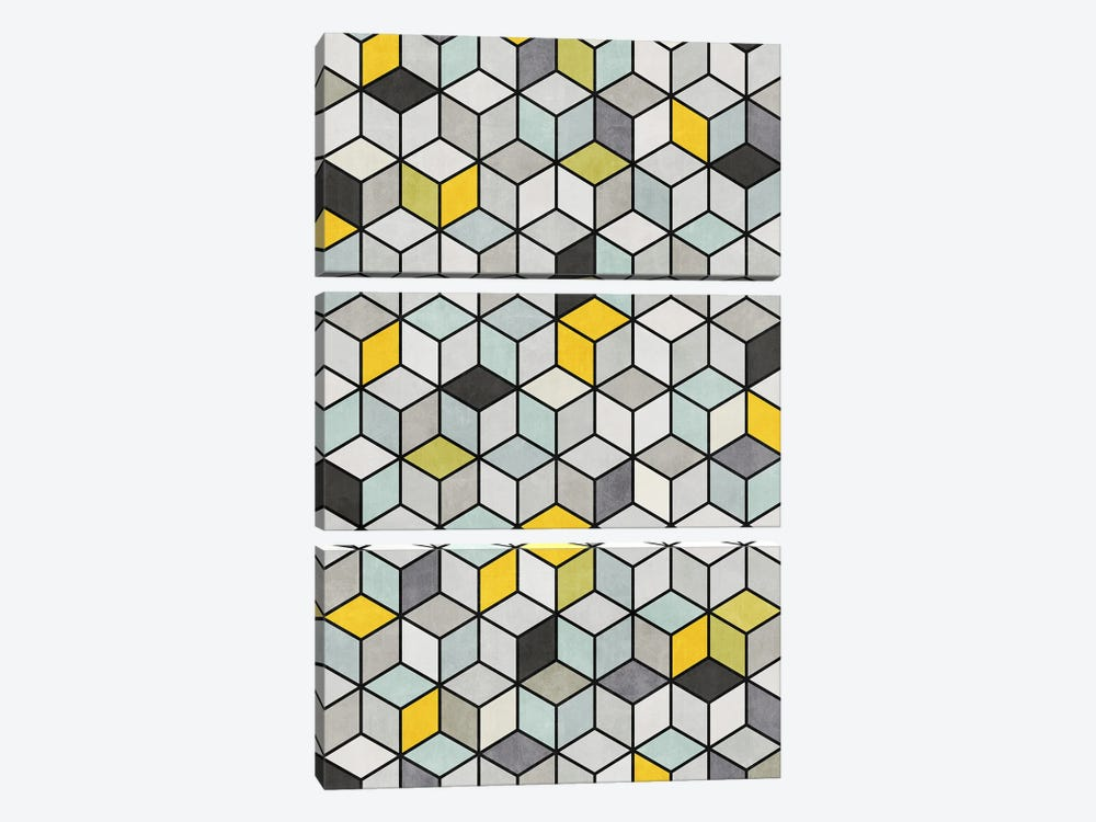 Colorful Concrete Cubes - Yellow, Blue, Grey by Zoltan Ratko 3-piece Canvas Print