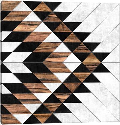 Urban Tribal Pattern No.9 - Aztec - Concrete and Wood Canvas Art Print